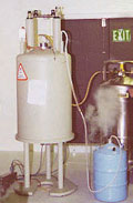 "In chemistry laboratories, liquid nitrogen is often stored in large thermos-like containers called ""dewars."" It boils at minus minus 195.8°C (-321 F) and is used for cooling."